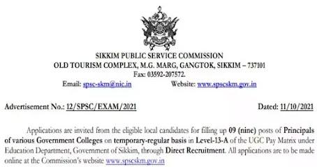 Sikkim Public Service Commission Recruitment 2021