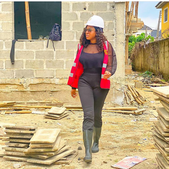 Actress Chika Ike stuns in lovely photos as she inspects her new site