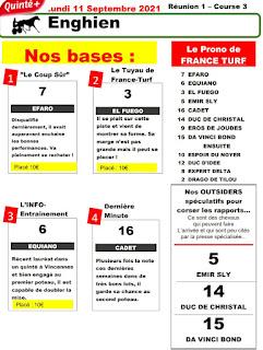 quinté+ Pronostic quinté Lundi 11/10/2021