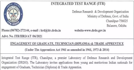 DRDO Recruitment 2021 |  Graduate, Technician (Diploma) & Trade Apprentice