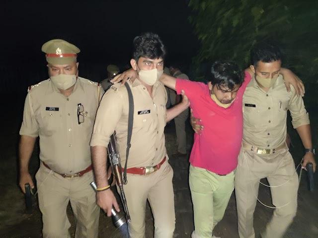 खेकडा पुलिस ने मुठभेड में किया 25 हजार का ईनामी बदमाश गिरफतार