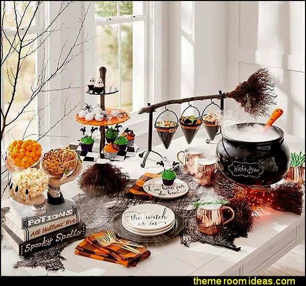 Broomstick Snack Bowl Stand - Halloween Snack Fruit Bowl Stand halloween table decor