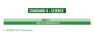 8th Science Basic Quiz Answer key