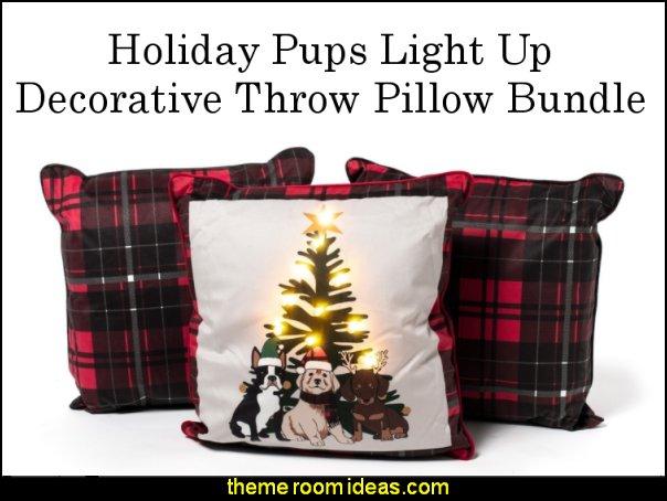 Holiday Pups Light Up Decorative Throw Pillow Bundle christmas decorating