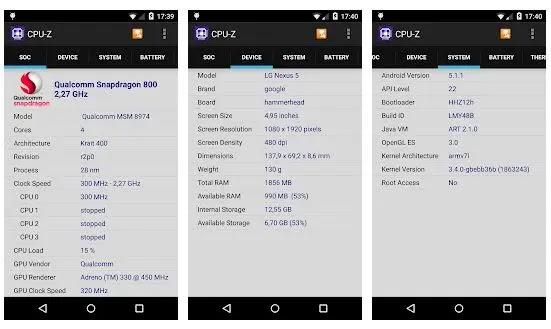 CPU-Z, aplikasi cek spek hp terbaik Android