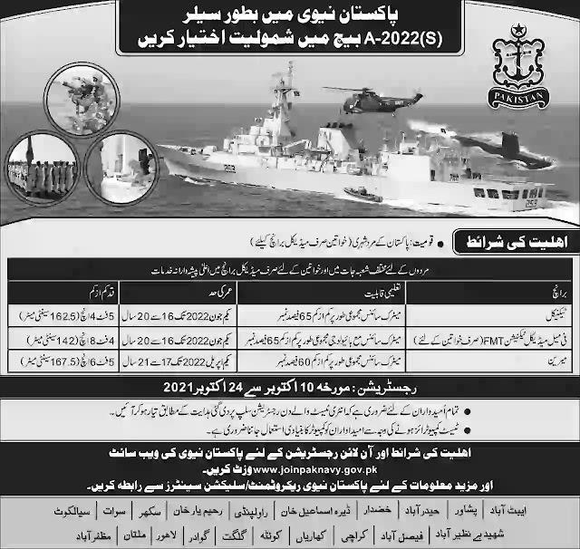 Pak Navy Jobs Join as Sailor 2021-Online Apply