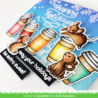 May Your Holidays be Extra Sweet Card by Samantha Mann for Lawn Fawnatics Challenge, Lawn Fawn, Distress Inks, Ink Blending, Christmas, Christmas Card, Pun, Mice, Holidays, Handmade Cards, Card Making, Cards, #lawnfawnatics #lawnfawn #distressinks #christmas #christmascard #cardmaking
