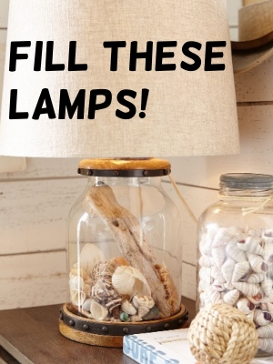 Fill Glass Lamps with Shells and Beach Finds Fillable Table Lamps