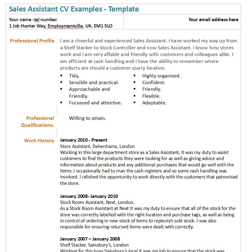 sales assistant cv example