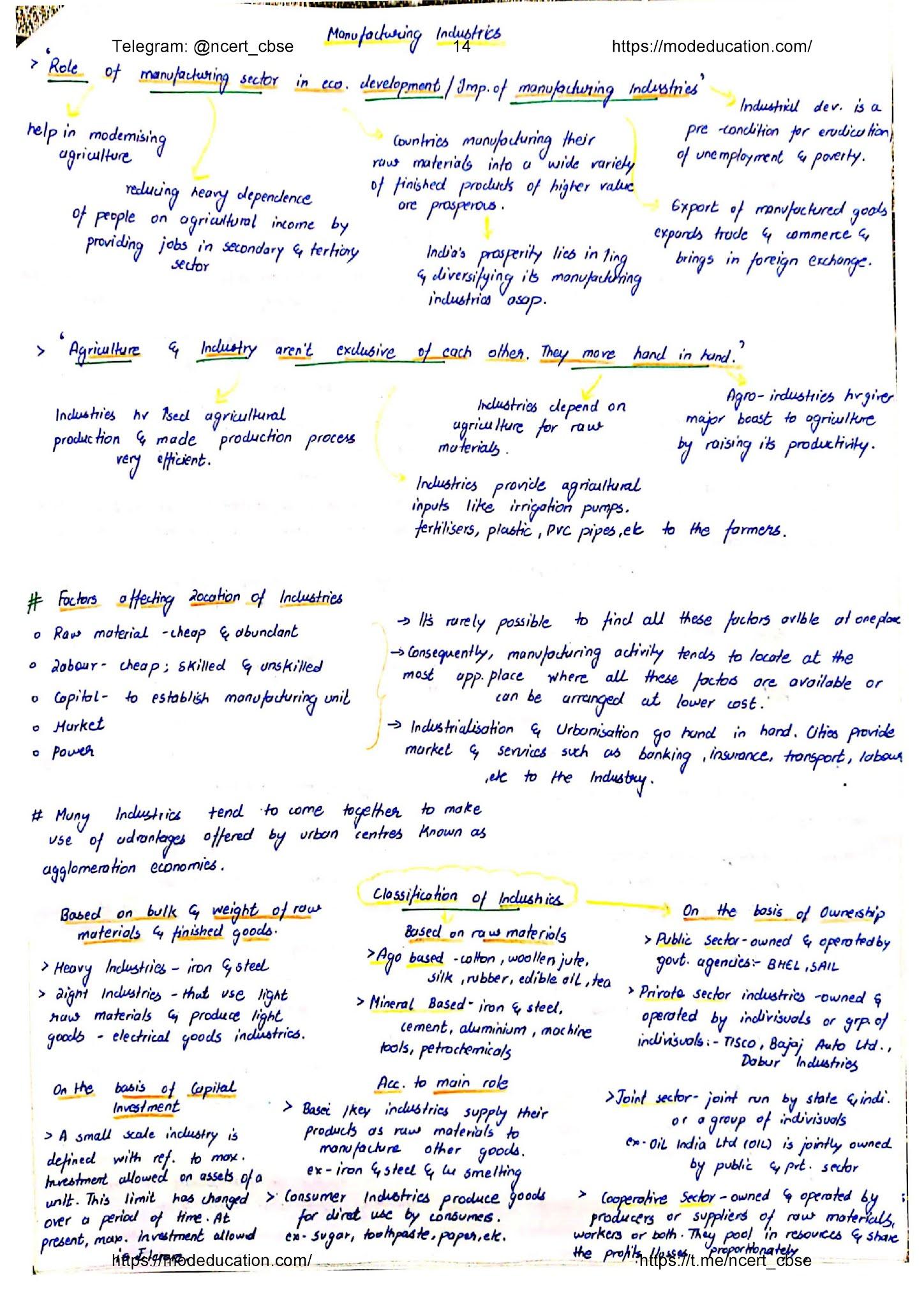 Class 10 Geography Handwritten Notes, class 10 geography chapter 7 handwritten notes