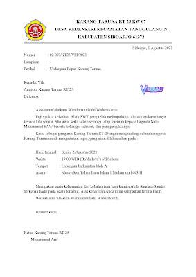 Download Contoh Surat Undangan Rapat Karang Taruna RT Agenda Merayakan 1 Muharram