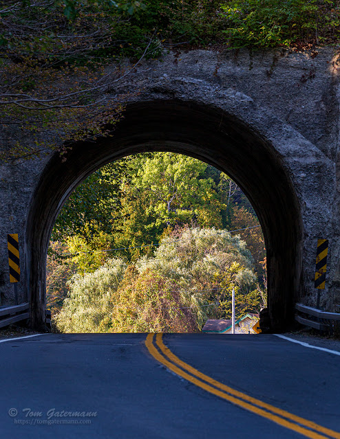 Looking through the archway over Route 174