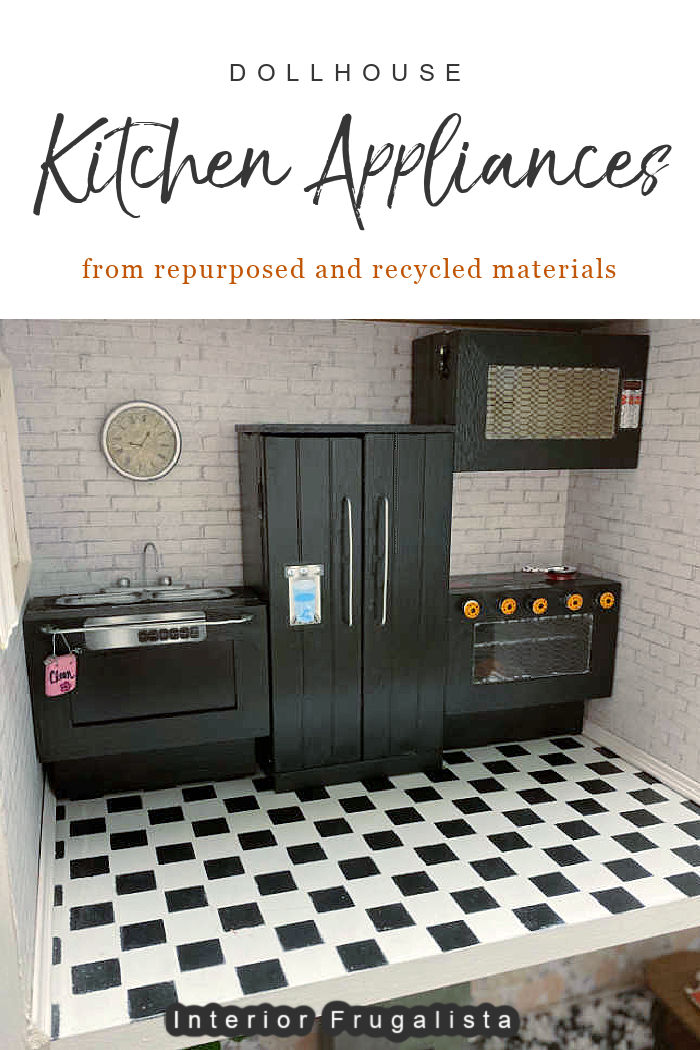 How to make dollhouse miniature kitchen appliances from recycled and repurposed materials with tutorial for fridge, stove, dishwasher, and microwave. #dollhouseappliances #dollhouseminiatures #dollhousediyideas #dollhouseprojects