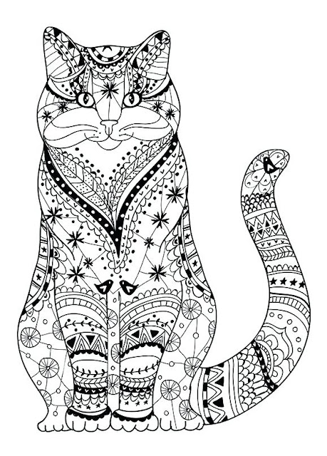 Cat coloring pages for adults free