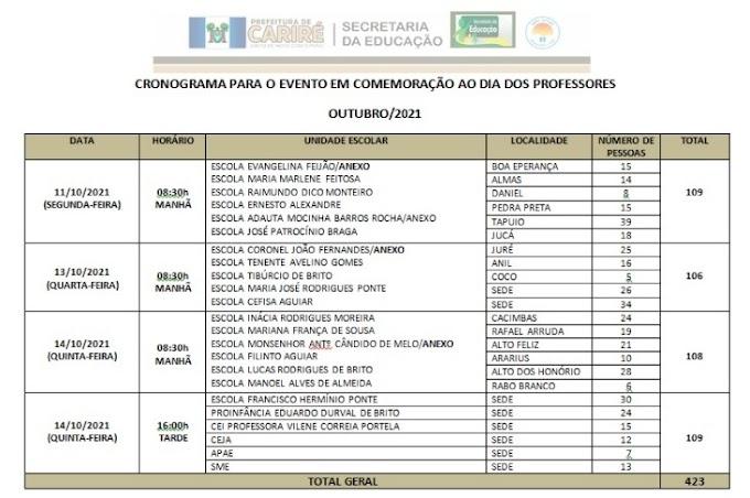 Educação de Cariré-CE realizará programação em comemoração ao Dia dos Professores(as)