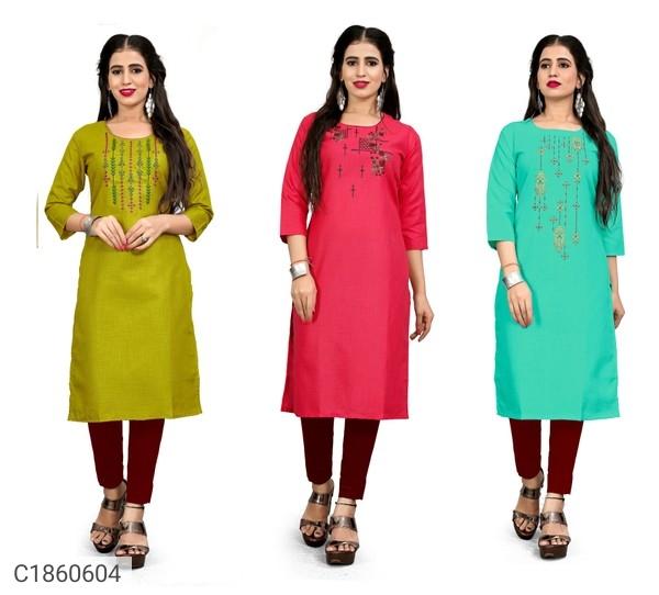 Embroidered Cotton Slub Kurti Buy 2 Get  1 Free   Kurti For Women Online Shopping   Womens Kurti Online  