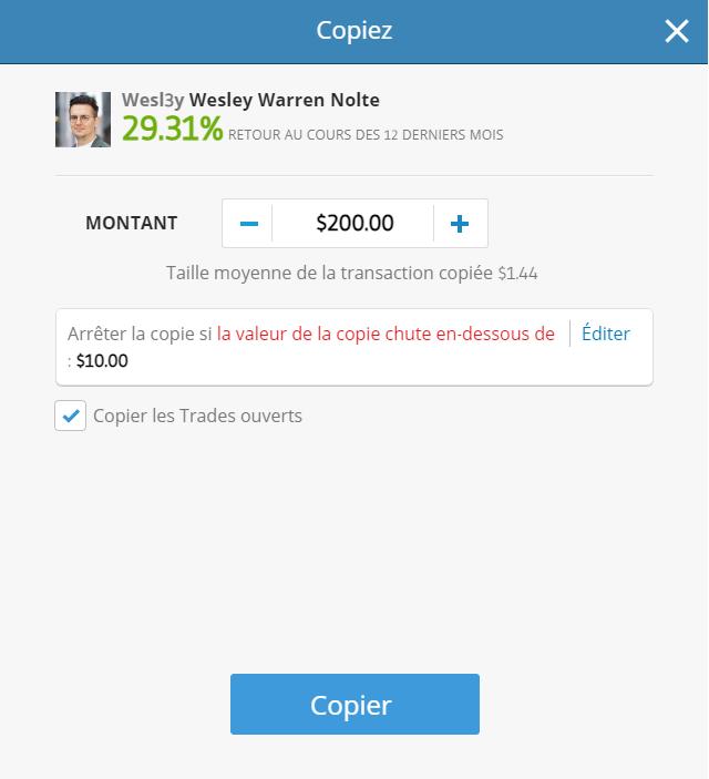 Copier un trader sur eToro