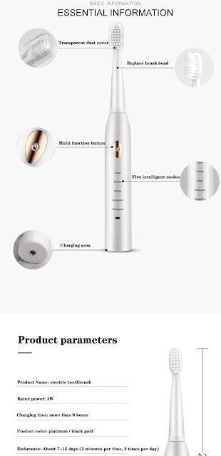 Gollinio فرشاة الأسنان الكهربائية usb قابل لإعادة الشحن شحن سريع الكبار الموقت فرشاة أسنان فرشاة أسنان استبدال الكهربائية GL15A