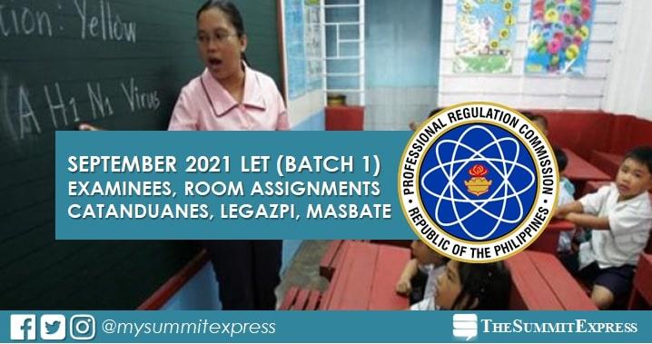 Examinees, Room Assignments: September 2021 LET in Catanduanes, Legazpi, Masbate