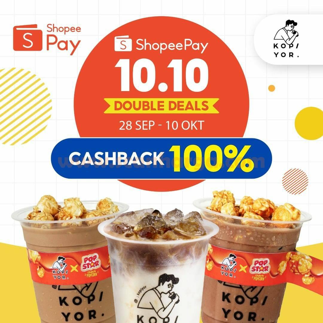 Kopi Yor Promo 10.10 ShopeePay Double Deals – Voucher Cashback 100% dari Shopee