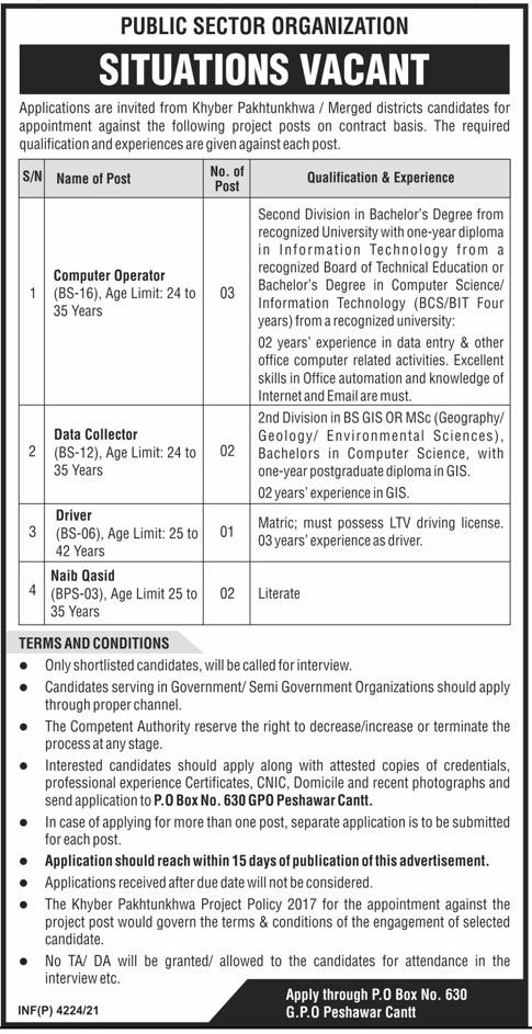 Public Sector Organization KPK Jobs – PO Box 630 Peshawar Jobs 2021