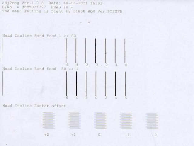 Hasil print alignment printer epson L1800