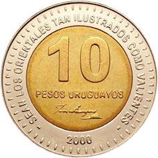 Monedas uruguayas para imprimir 10 pesos