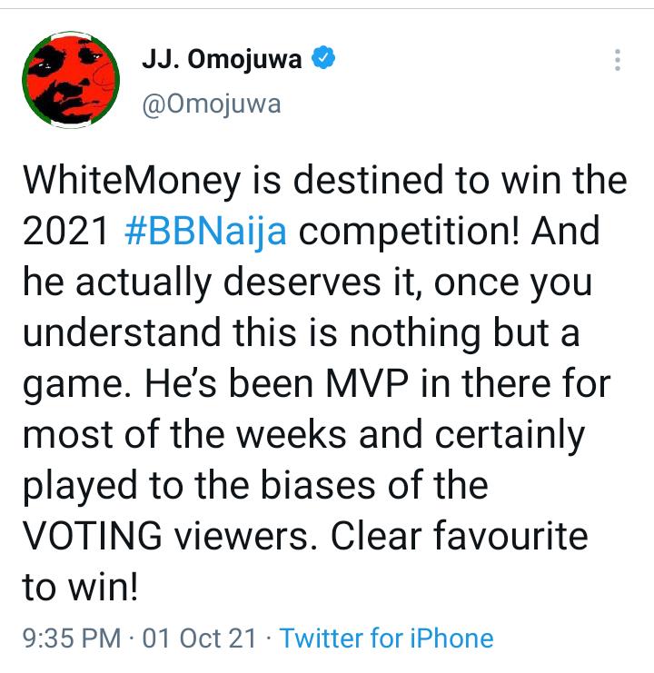 BBNaija: Omojuwa reveals why Whitemoney deserves to win the 2021 BBNaija competition