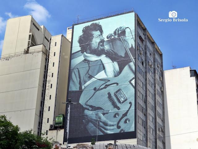 Vista ampla do Mural Raul Seixas no Centro - São Paulo