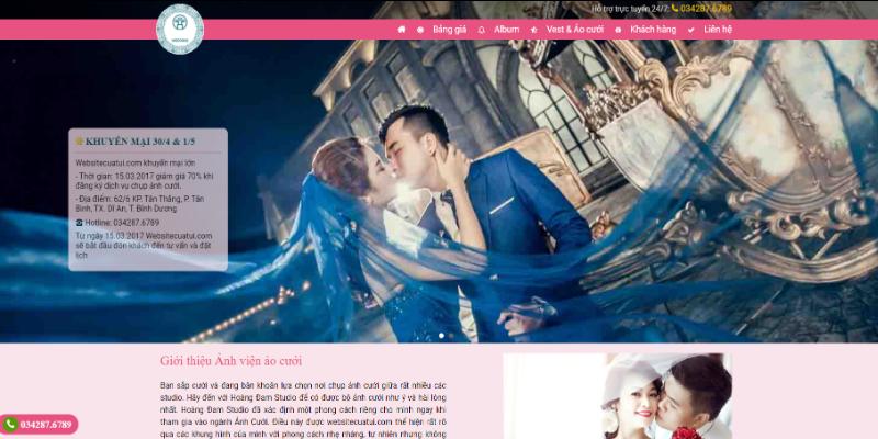 Mẫu website dịch vụ cưới hỏi miễn phí