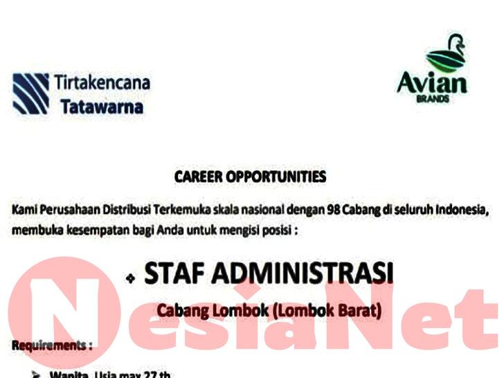 Lowongan Kerja PT Tirtakencana Tatawarna (Avian) Lombok Barat NTB