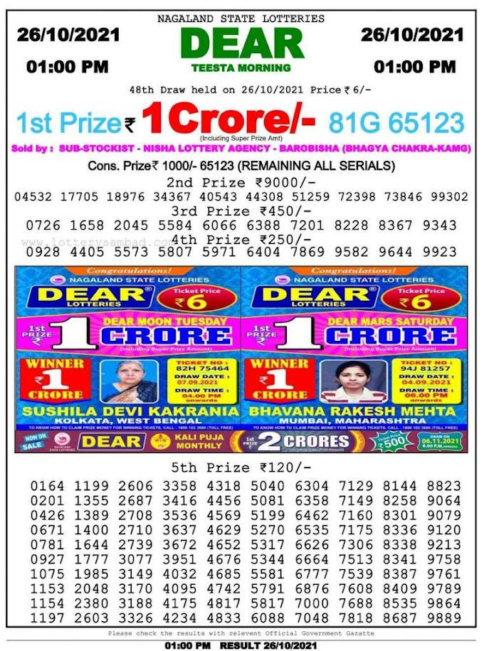 Lottery Sambad 26.10.2021 Today Result 2 PM 6 PM 8 PM Nagaland State Lottery