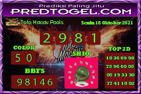 Pred Macau Senin 18 Oktober 2021