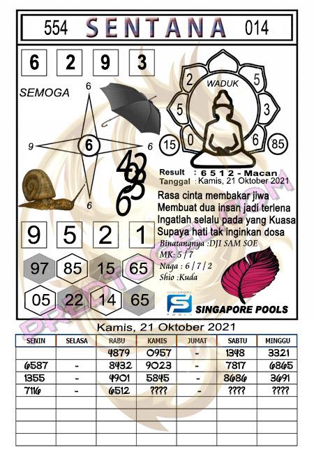 Pred Syair Sentana Singapura Kamis 21-Okt-2021