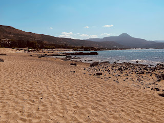 View of Falassarna beach where the umbrellas haven't reached.