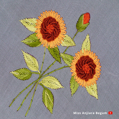Flower Embroidery with Different Stitches