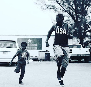 Picture of Daynise's husband Justin and their son Jace running
