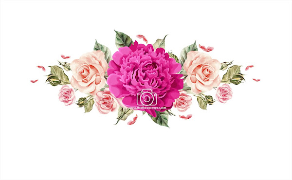 Save the date pink peach floral wreath with watercolor Vector png