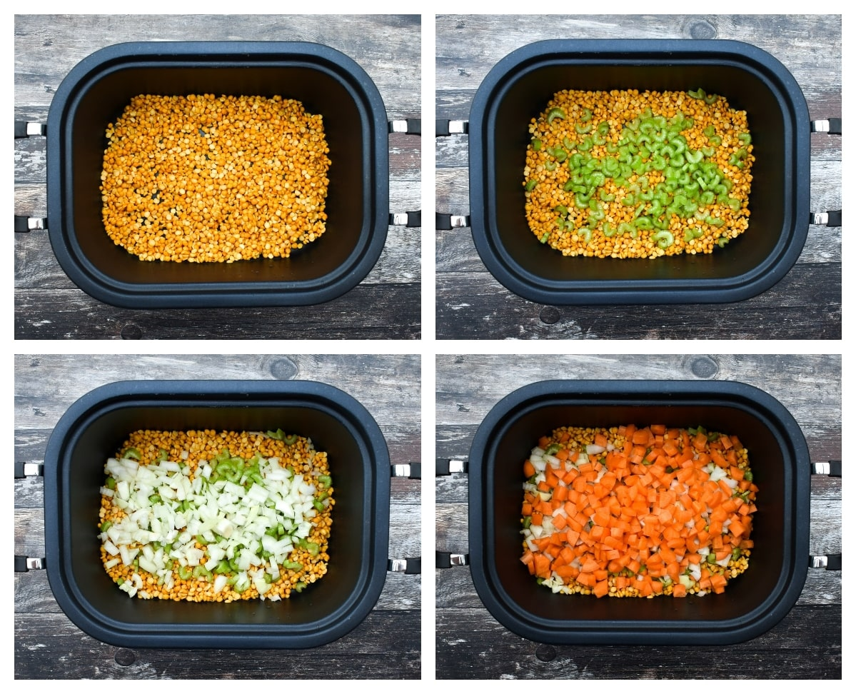 slow cooker split pea soup - step 1