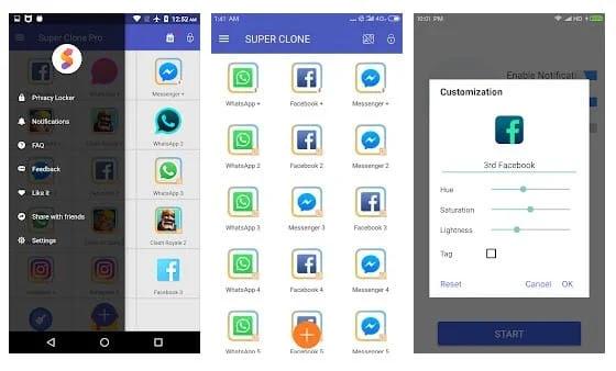 هذه بعض من أفضل برامج استنساخ التطبيقات لنظام Android والتي يمكنك استخدامها اليوم تطبيق Parallel Space|تطبيق Dual Space|تطبيق MoChat|تطبيق 2Accounts|تطبيق Dr.Clone|تطبيق Parallel U|تطبيق Multi|تطبيق DO Multiple Space|تطبيق Super Clone