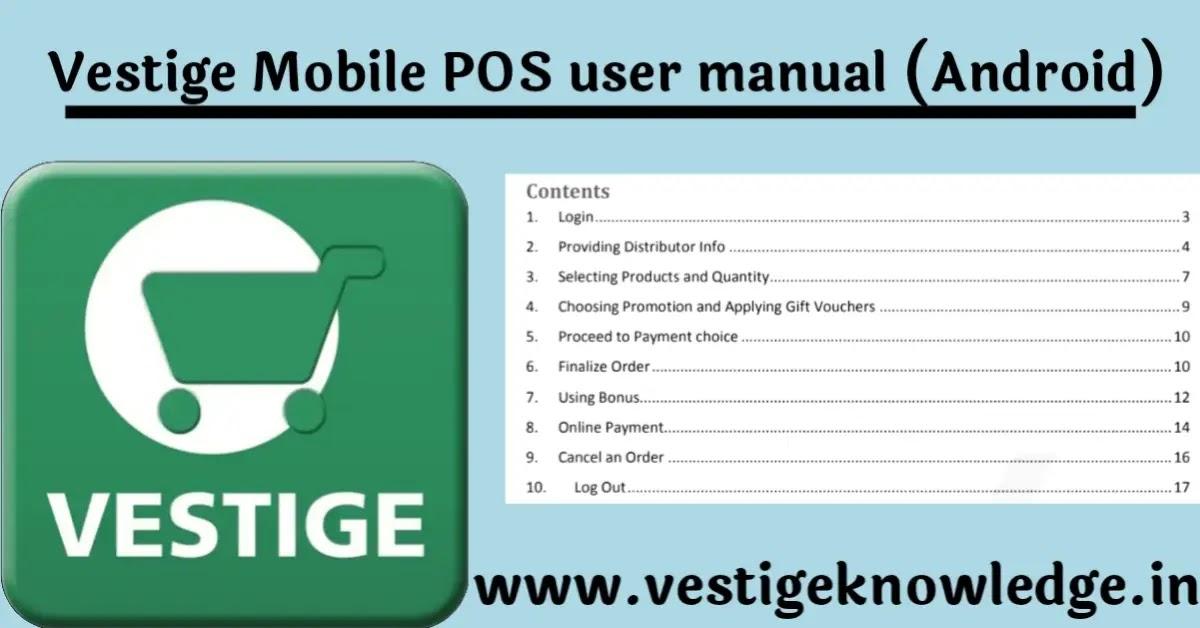Vestige POS Guide Pdf