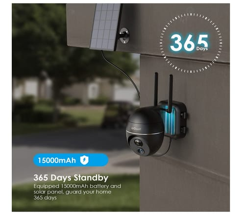 ieGeek Solar Powered WiFi Security Camera with Pan