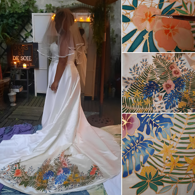 Robe de mariée tropicale peinte à la main
