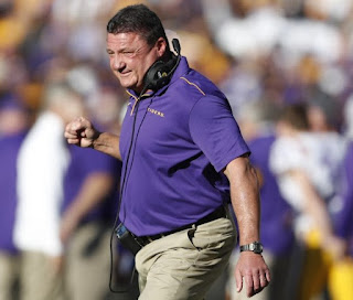 Ed Orgeron's reaction after winning the game