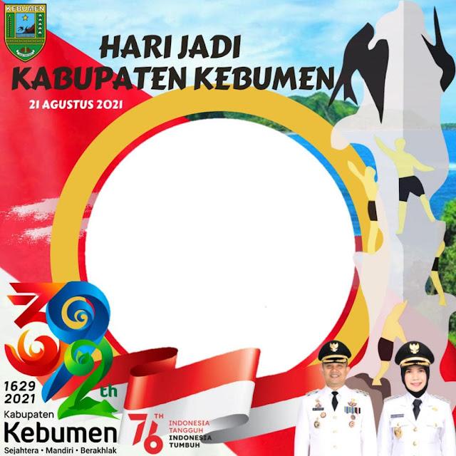 Template Desain Frame Bingkai Twibbon Peringatan Ulang Tahun ke-392 Kabupaten Kebumen Tahun 2021