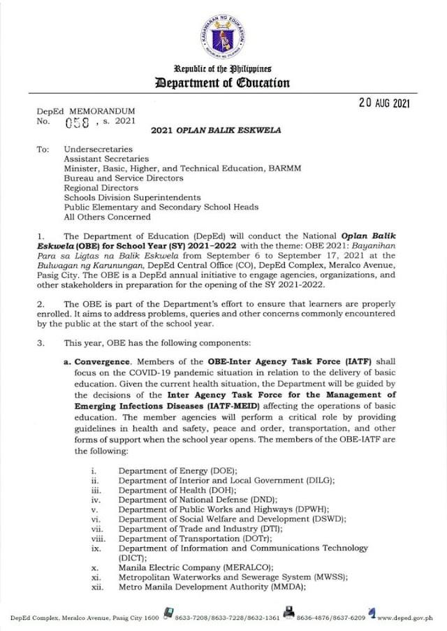 2021 Oplan Balik Eskwela   DM No. 58, s. 2021