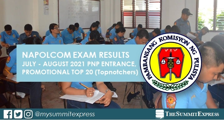 TOP 20 PASSERS: July-August 2021 NAPOLCOM exam results