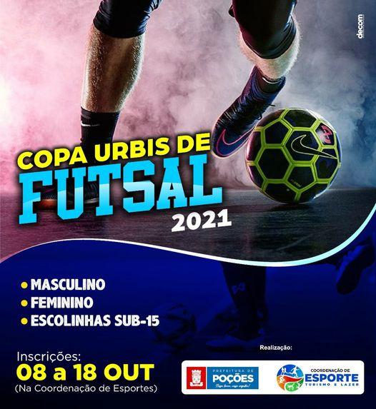 A Prefeitura de Poções, através da Coordenação de Esportes, vai realizar a Copa Urbis de Futsal 2021