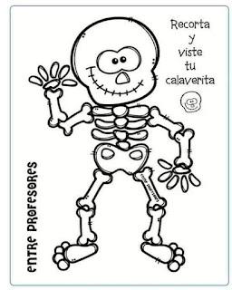 esqueleto de papel para COLOREAR