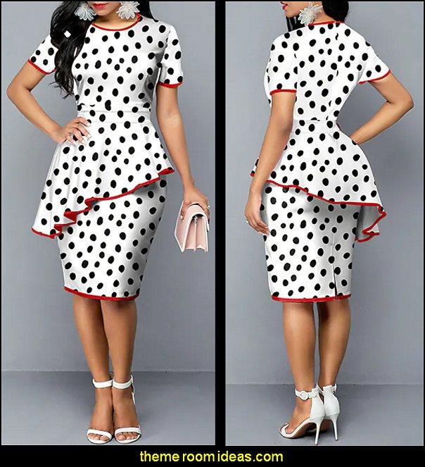 Knee Length Dress White Short Sleeve Polka Dot Ruffle Print  WOMENS FASHION
